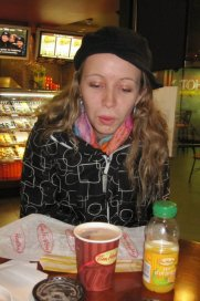 Amanda Waiting for Hot Chocolate to cool in Toronto, Canada